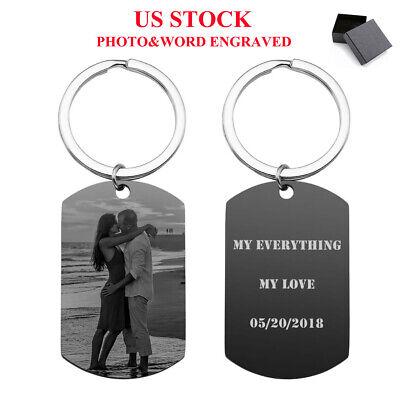 Personalised Custom Photo Dog Tag Engraved Key Chain Keyring Stainless Steel US
