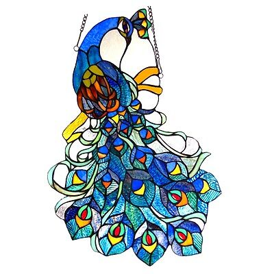 Tiffany Style Stained Glass Window Panel Peacock Design  ~LAST ONE THIS PRICE~ ()
