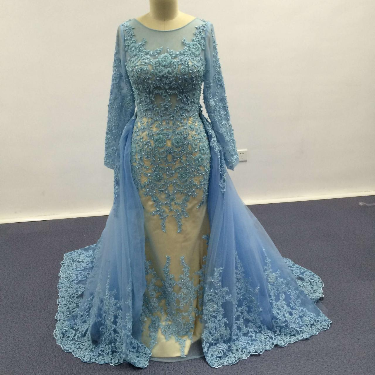 Removable Train Mermaid Evening Dress Formal Blue Tulle Party Prom Bridal Gowns