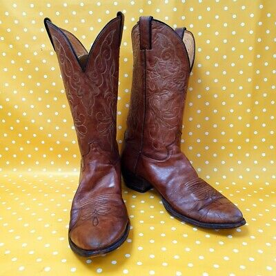 Vintage Justin Boots leather Line Dancing Riding Western cowboy boots UK 10