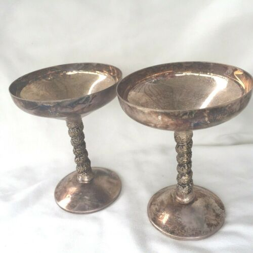 Plator silver plate set of 2 champagne sherbet goblets cups party made in Spain