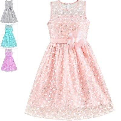 Mädchen Kleid Blume Mädchen kleiden Schnüren Pailletten Fackel Rosa Hochzeit