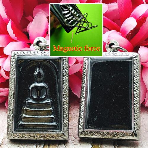 Thai Safeguard Amulet Leklai Magnetic Froce Matel Umklum Somdej Black Shine 0045