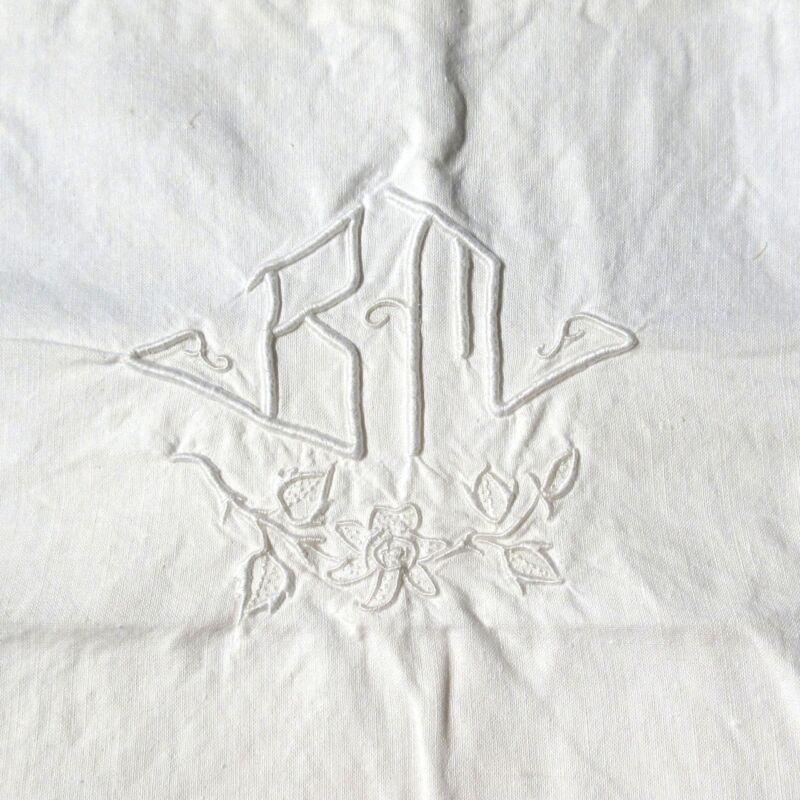 "VintageFrenchPillowcase Sham, Monogrammed""B.M."", Embroidered, Ladderwork"