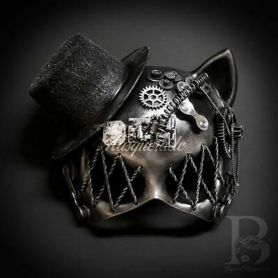 Guy Masquerade Mask (Gatto Cat Steampunk Masquerade Mask Light Up Silver)