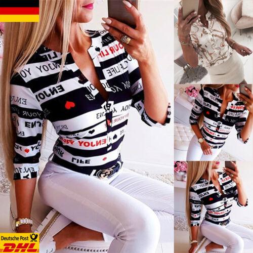 Damen V-Neck Oberteil Mode T-Shirt mit Knopf Freizeit Hemd Bodycon Geblümt Bluse
