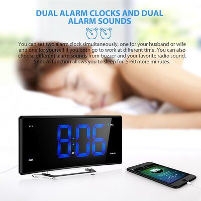 2.0 Dual Alarm Digital LED Clock Dimmable Projection FM Radio DST USB Charging