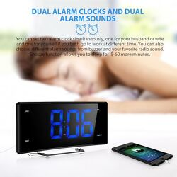 Projection Alarm Clock Curved Screen Desk Clock Digital FM Radio LED Display USB