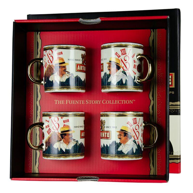 Set Of 4 Arturo Fuente Opus X Cigar Father & Son Espresso Mugs New in Box