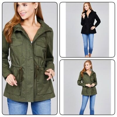 Women's Military Anorak Safari Jacket with Pockets and Hood Jacket Coat(S-L)