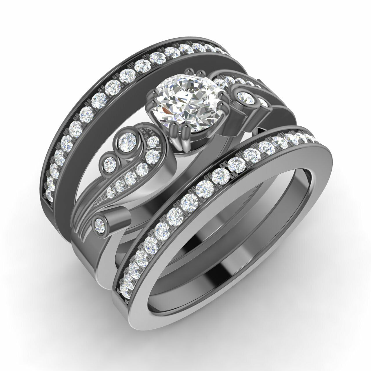 Natural Diamond Bridal Engagement Ring w/ 2 Matching Bands in 14k Black Gold