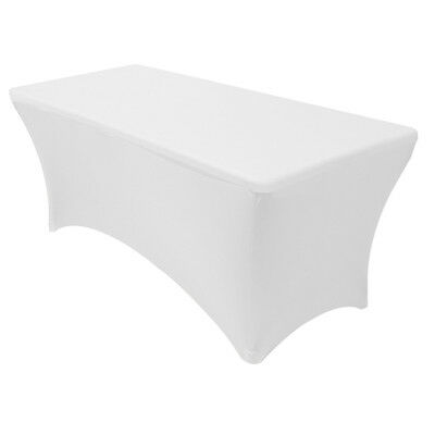 6' ft. Spandex Fitted Stretch Tablecloth Table Cover Wedding Banquet Party White