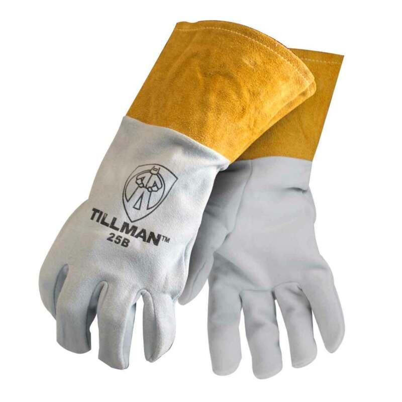 """Tillman 25B Deerskin Split Leather 4"""" Cuff TIG Welding Gloves, Large"""