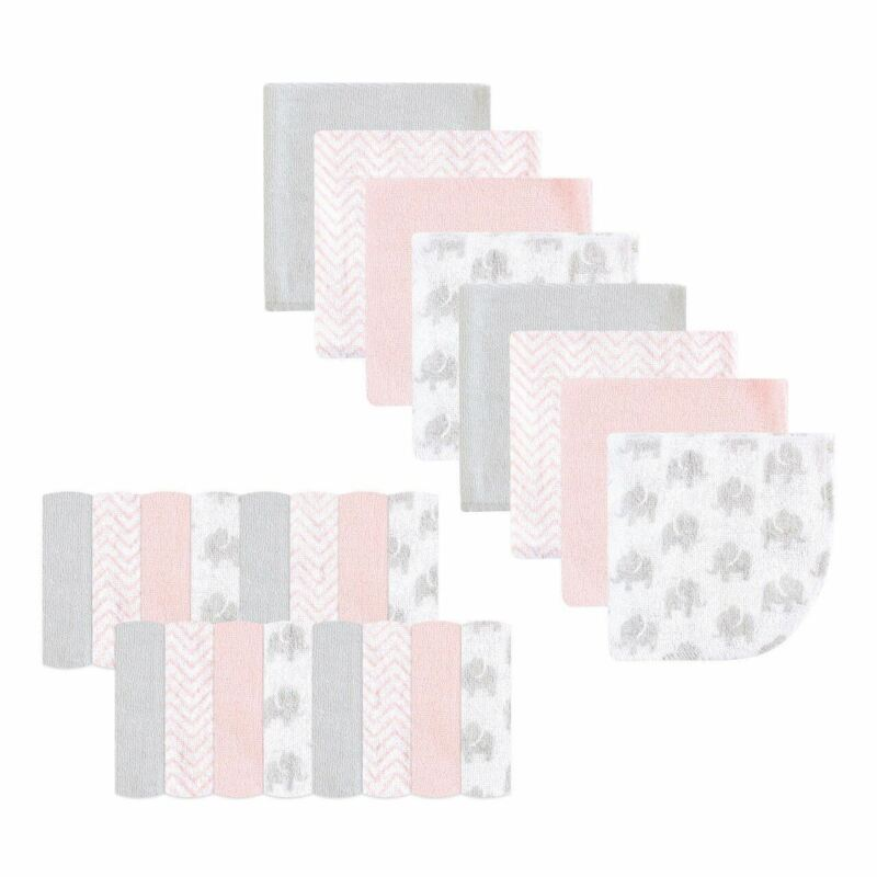 Luvable Friends Girl Washcloths, 24-Pack, Pink Elephant