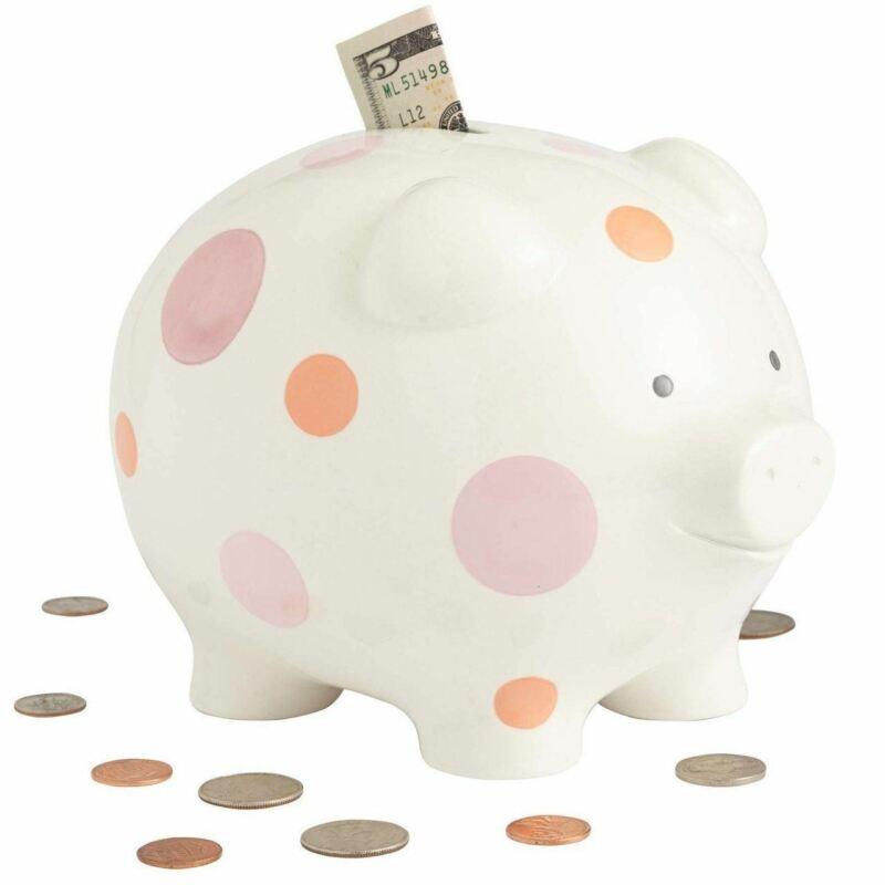Beginnings by Enesco Big Polka Dot Piggy Bank, Pink, 7 inches