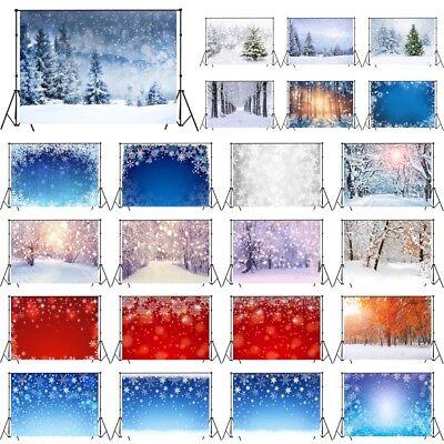 Winter Snow Fir Trees Snowflakes 10X8FT Vinyl Studio Backdrop Photo Background - Snowflake Backdrop