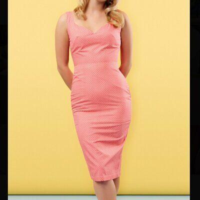 XL Plus Tara Starlet Clothing 1950s PEGGY Pinup Girl Dress Sheath Sophia Coral  ()