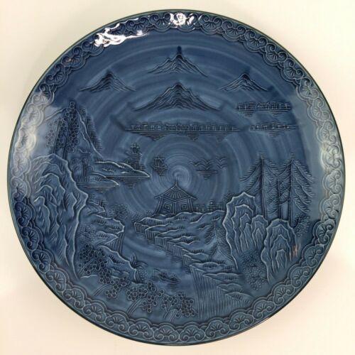Vintage Arita 3 Friends of Winter Blue Japanese Plate Hizen Kilns Tetsusaburo