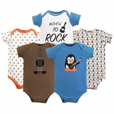 Luvable Friends Boy Bodysuits, 5-Pack, Penguin Guitar