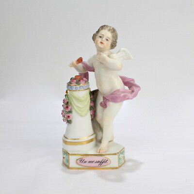 Antique Meissen Porcelain Cupid Motto Figurine - Un Me Suffit Heart PC