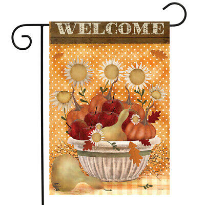 "Harvest Bounty Autumn Garden Flag Primitive Welcome 12.5"" x 18"" Briarwood Lane"