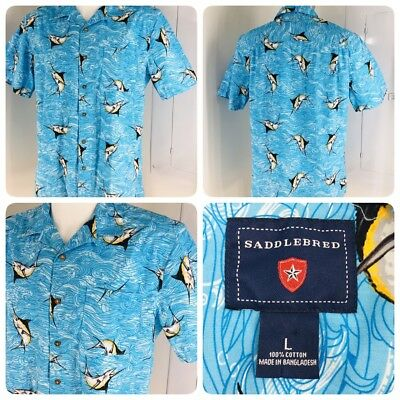 Saddlebred Mens L Casual Tropical Hawaiian Shirt Marlin Deep Sea Fishing Button for sale  Shipping to Canada
