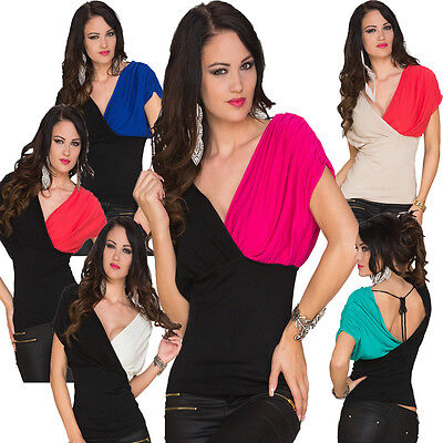 Damen Kurzarm Shirt T-Shirt Top Feinstrick S 34 36 Party Disko Mode elegant sexy
