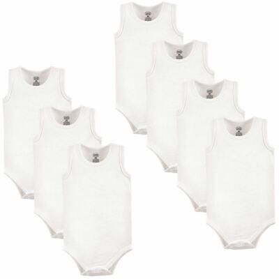Luvable Friends Boy and Girl Sleeveless Bodysuits, 7-Pack, White Sleeveless