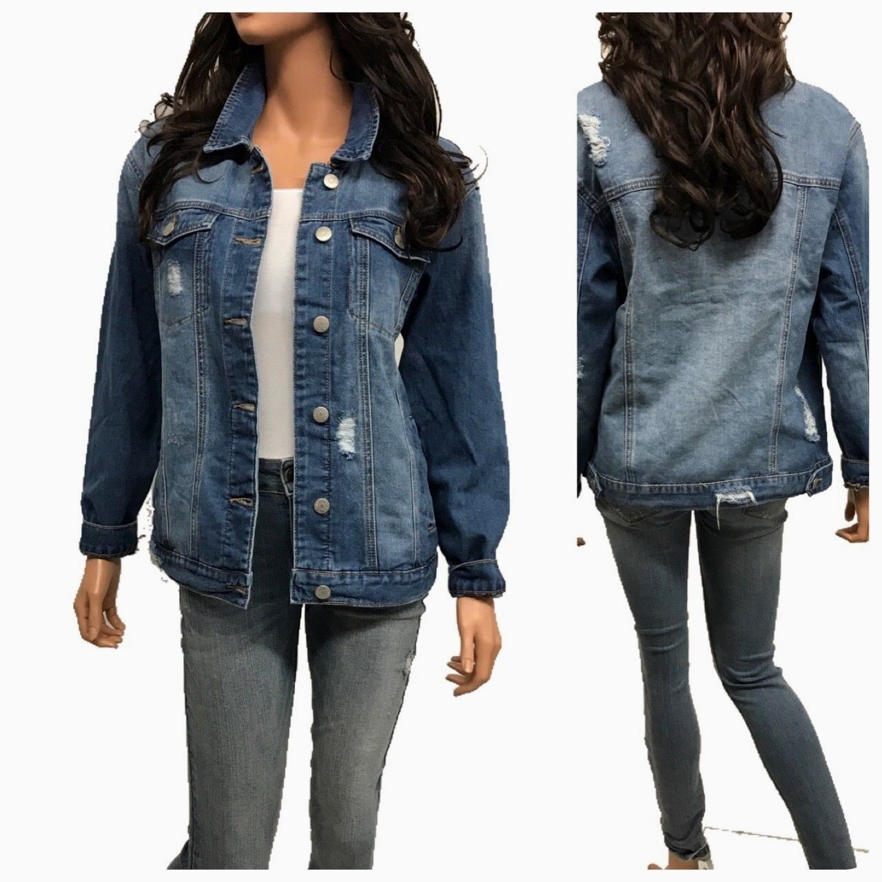 Women's Causal  Long Sleeve  Loose Fit Denim Jean Jacket