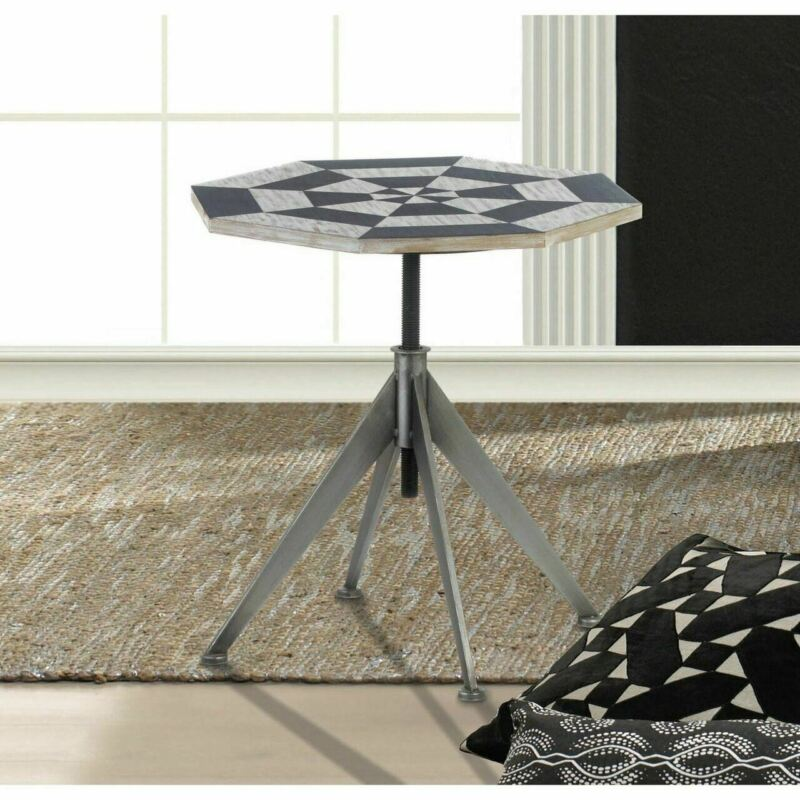 MODERN POP ART ABSTRACT INDUSTRIAL ADJUSTABLE HEIGHT SCREW UP END SIDE TABLE