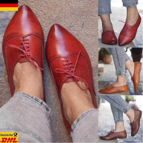 Damen Spitz PU-Leder Halbschuhe Schnürschuhe Flache Oxford-Schuhe Freizeitschuhe
