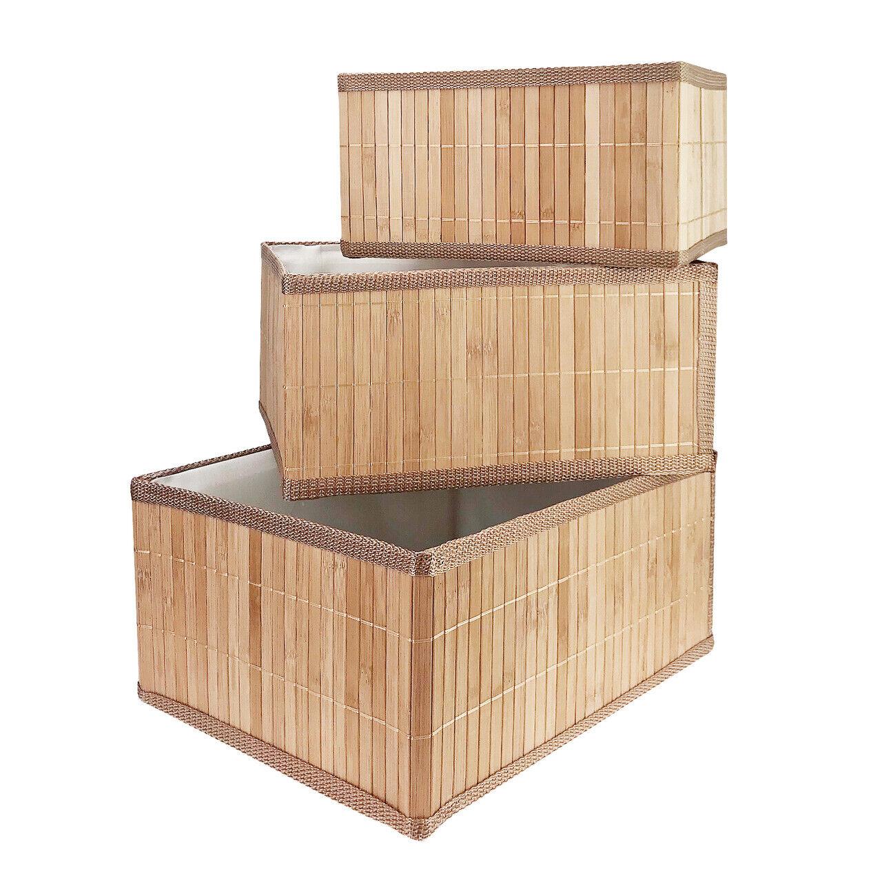 3-tlg. Set Aufbewahrungsboxen Bambus Ordnung Kiste Box Deko Regal Korb Behälter