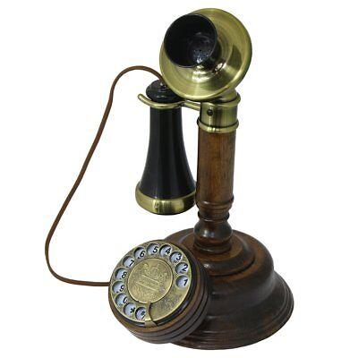 Telefono Fijo Vintage de Maderay Metal Antiguo Retro con Cable y Disco...