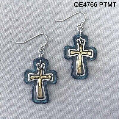 Multi Patina Gold Silver Finished Hammered Triple Cross Drop Dangle Earrings Multi Cross Dangle