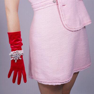 Velvet Gloves Opera Elbow Long Stretchy Rose Pink 40cm 15