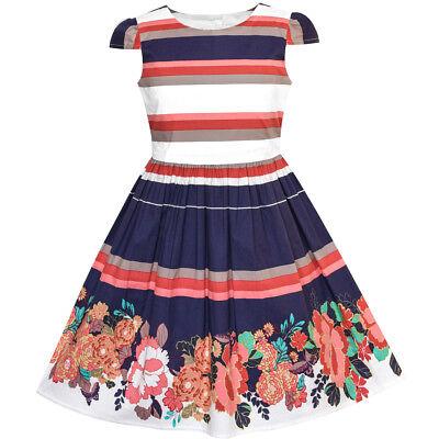 US STOCK! Girls Dress Stripe Flower Cap Sleeve Cotton Dress Size 2-8 - Cotton Flower Girl Dresses