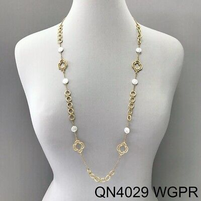 Long Matte Gold Finished Circle Clover Design Pearl Accented Chain Necklace