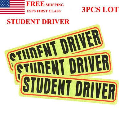 3Pcs Set Kit Lot Student Driver Magnets Highly Reflective Vehicle Car Signs US