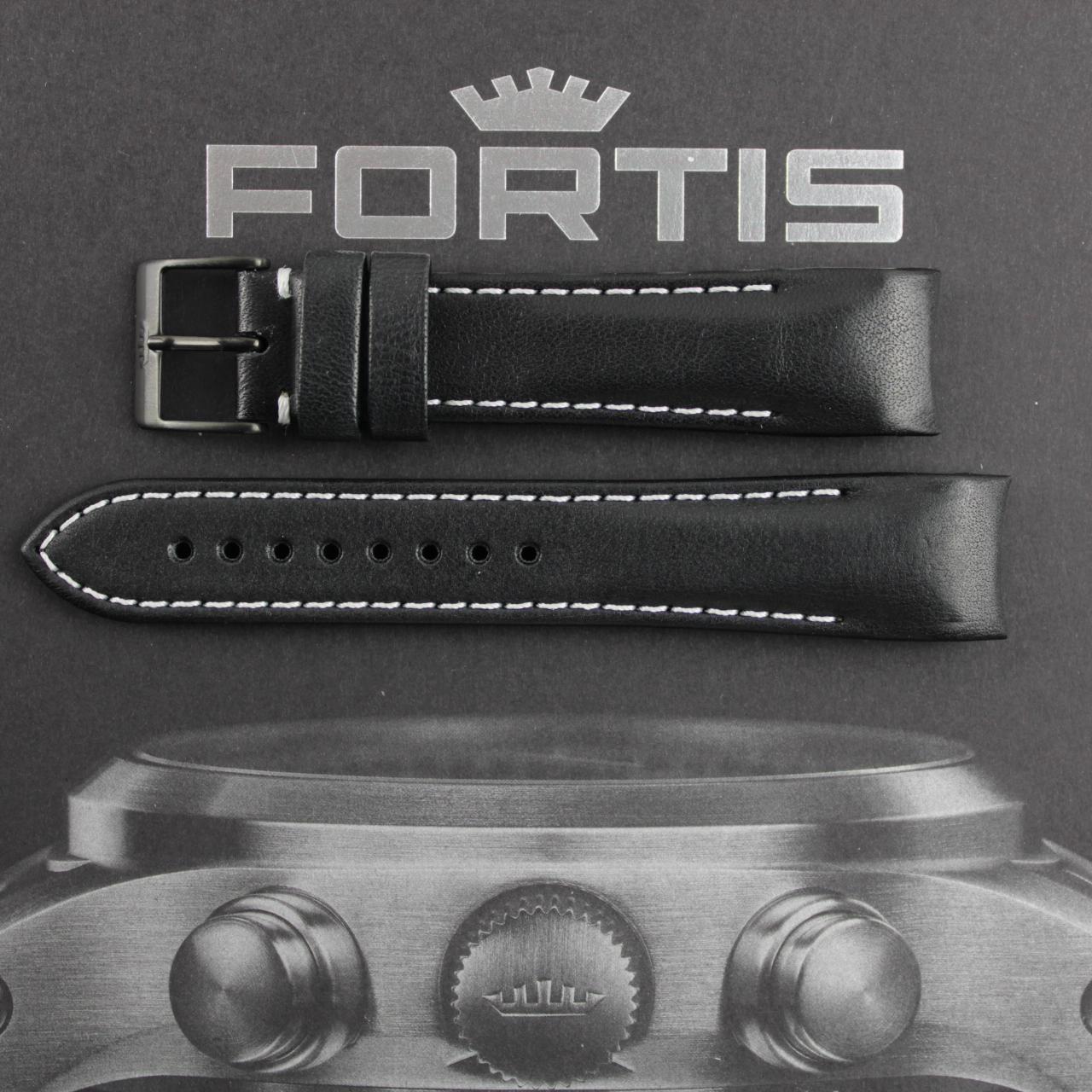 Fortis B-42/ F-43 Integriertes schwarzes Lederband mit weisser Kontrastnaht. PVD