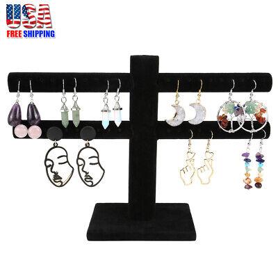 Jewelry Watch Bracelet Holder Display Stand 2 Tier T Bar Organizer Black Velvet