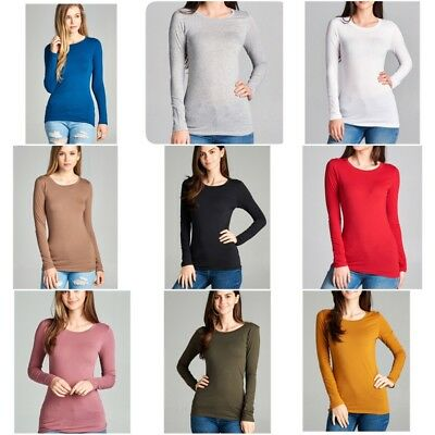 Basic Long Sleeve Solid Top Womens Plain Cotton T-Shirt Stretch Tight Crew Neck Basic Cotton Long Sleeve Tee