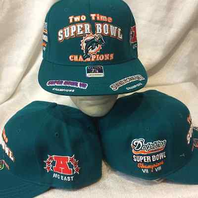 Miami Dolphins Fitted Hat Size 7 3 4     Nfl 2 Time Super Bowl Hat
