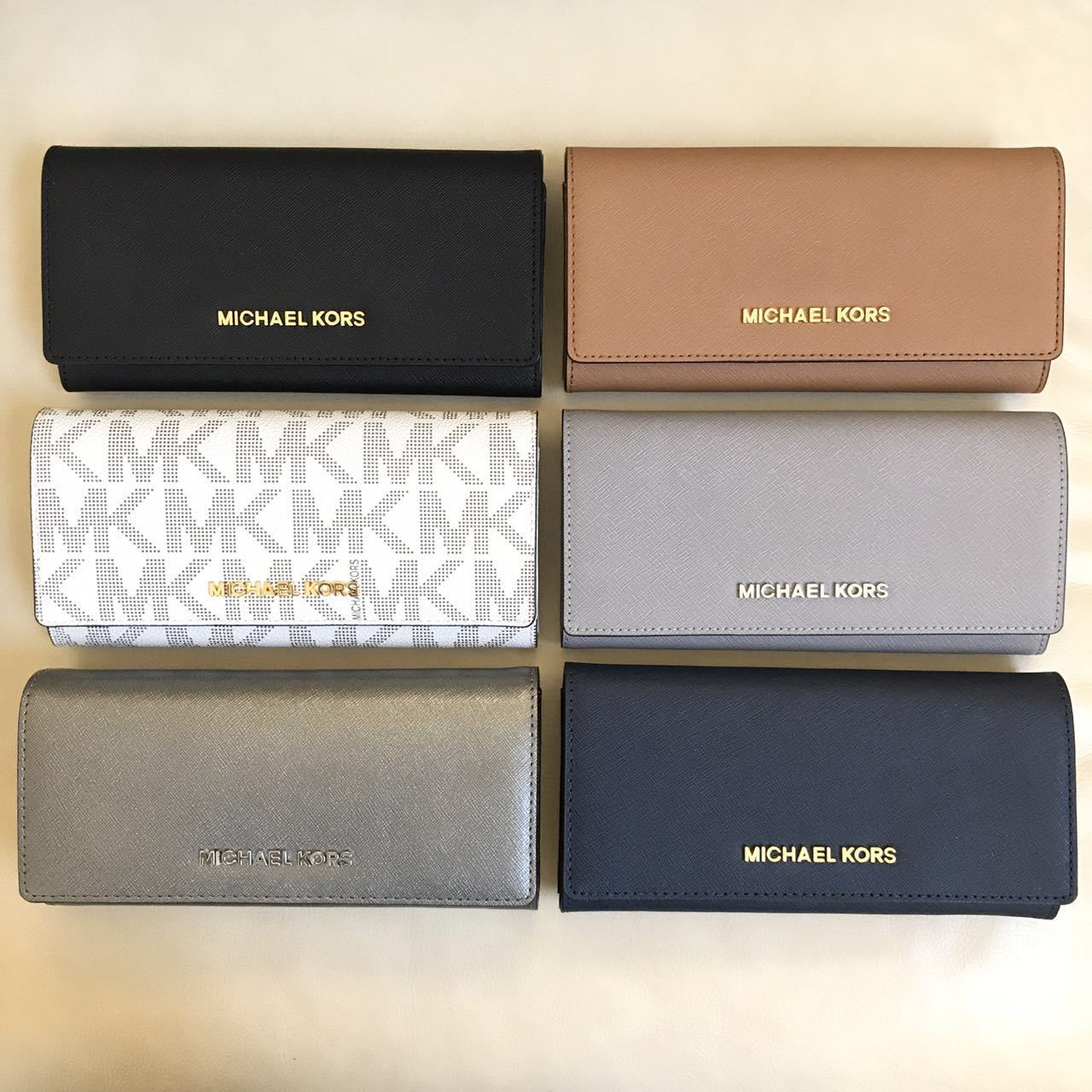 Michael Kors - NEW Michael Kors Jet Set Saffiano Leather PVC Carryall Wallet Various Colors