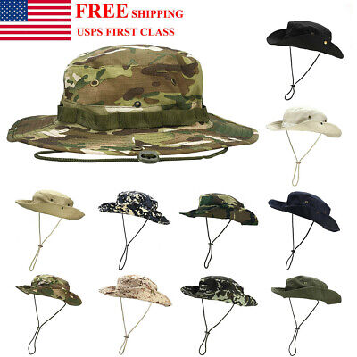 Camo Bucket Hats (Mens Boonie Bucket Sun Hat Safari Cap Hunting Fishing Military Camo Wide)