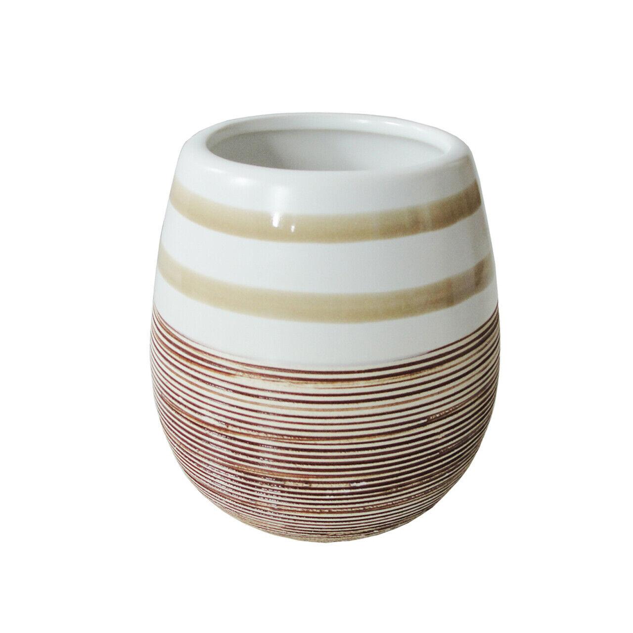 Beige Weißer Zahnputzbecher Zahnputzglas Mundspülbecher aus Keramik mit Streifen