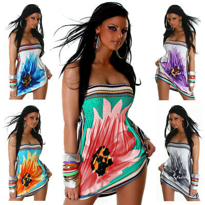 Bandeau-Minikleid mit Blumenmuster elegant sexy neu Sommer Party Tanz Größe - Sexy Tanz