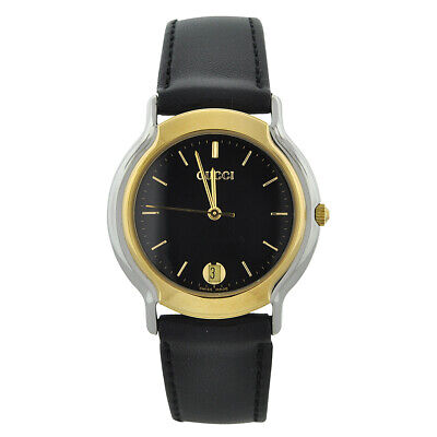Vintage Gucci Gold Two Tone Black Dial Leather Band Women's Watch
