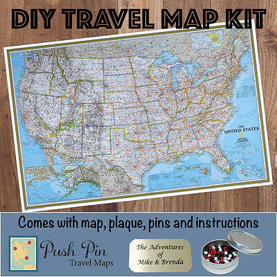 Diy Classic Us Push Pin Travel Map Kit