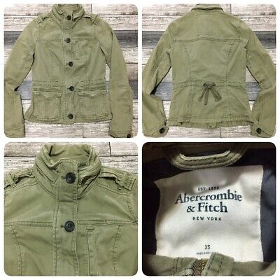 Abercrombie & Fitch Military Jacket Women's XS Green Zip/Button Front (D3)