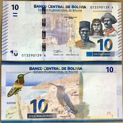 BOLIVIA 10 BOLIVIANOS 2018 NEW COLOR DESIGN GIANT HUMMINGBIRD PUYA RAIMONDI UNC